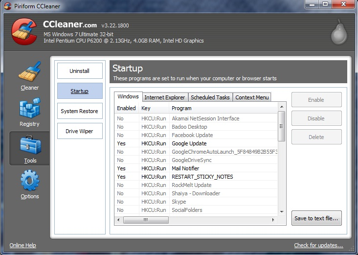 How to disable Windows Startup Programs with CCleaner