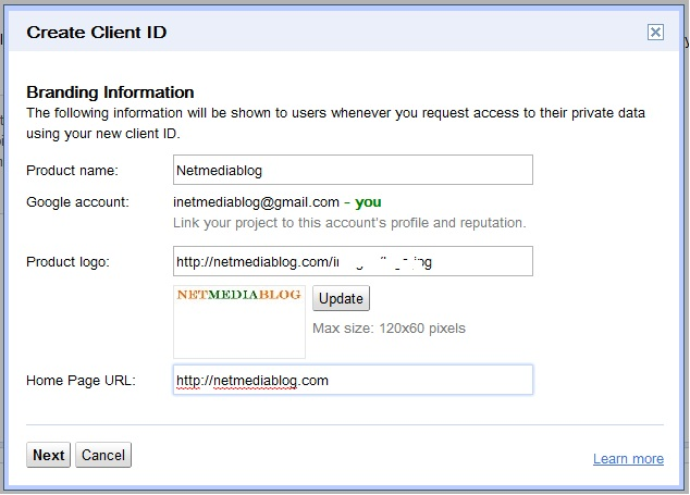 create OAuth 2.0 client ID settings