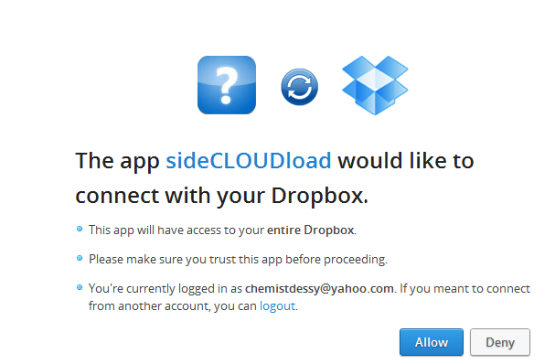 sideCLOUDload Dropbox notification