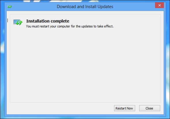 restart after installing windows 8.1 update